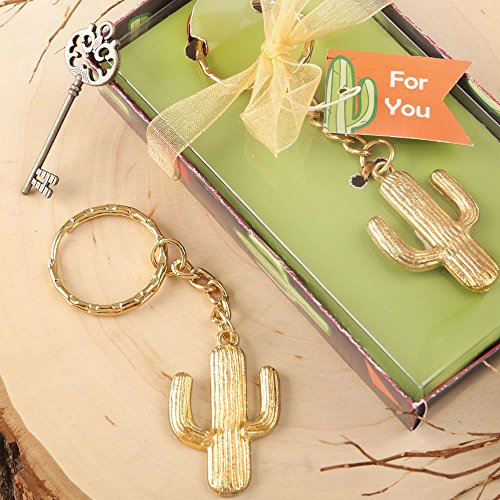 90 Gold Metal Cactus Design Key Chains by Fashioncraft