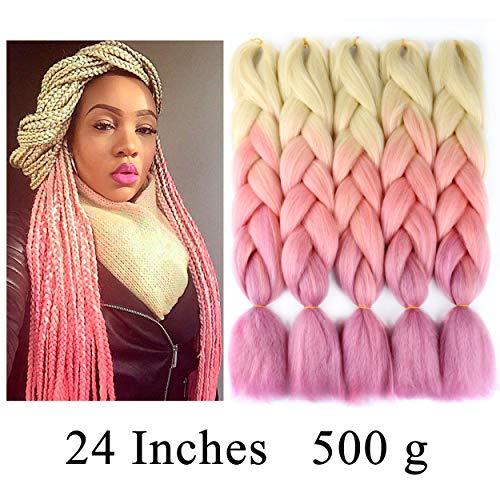 - VCKOVCKO Ombre Jumbo Braiding Hair Extension Synthetic Kanekalon Fiber for Twist Braiding Hair,Kanekalon Jumbo Box Braiding Hair 24