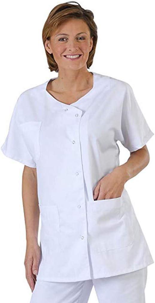 Chshe - Ropa de Trabajo de Enfermera, Unisex Nuevo Estilo Manga Corta Ropa de Trabajo Técnico Del Hospital Bata Blanca Blusa de Laboratorio (Blanco, Xxxl)