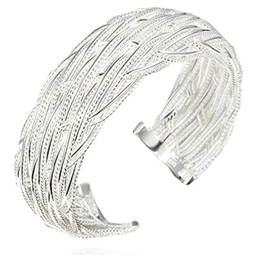 sephla Silver Plated Weave Mesh Adjustable Cuff Bangle Bracelet for Women