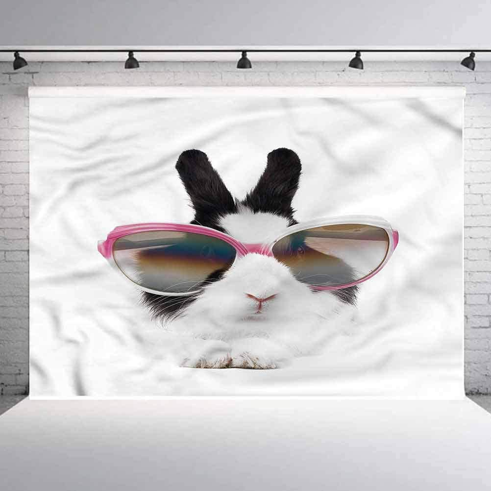 8x8FT Vinyl Photography Backdrop,Funny,Little Rabbit in Sunglasses Photoshoot Props Photo Background Studio Prop