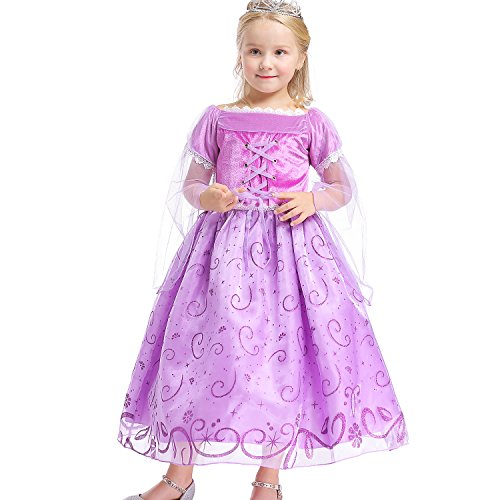 Abroda Girls Party Outfit Butterfly Fancy Dress Snow Queen Princess Halloween Costumes Cosplay Dress (3-4 Years, Purple) - Good Quality Halloween Costumes