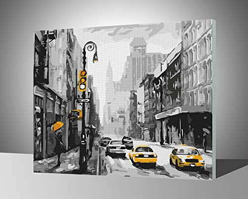 Paint by Numbers for Adults with Frame by Banlana, DIY Adult Paint by Number Kits for Beginners on Canvas Wooden Framed 16 by 20 (Street View of New York, Framed)
