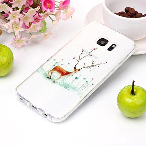 Christmas Funda Samsung Galaxy S7, FindaGift Navidad Series Phone Case Ultra Delgado Suave TPU Resistente a los arañazos del Teléfono Shell para Samsung Galaxy S7 (Branch Elk) Branch Elk