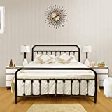 Ambee21 - Queen Metal Bed Frame with Headboard & Footboard: Vintage Antique Wrought Iron Bed Frame -Support Mattress Foundation, No Box Spring Required, Steel Slats, Under Bed Storage, Heavy Duty