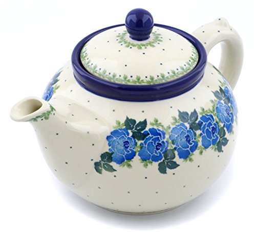 Polish Pottery 5 cups Tea or Coffee Pot made by Ceramika Artystyczna (Blue Garland Theme) + Certificate of Authenticity