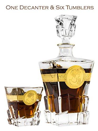 Denizli 71-923004, 21 Oz. Crystal Decanter & Six 7.7 Oz. Whisky Scotch Brandy Glasses with Golden Trim, Classic Wedding Carafe & Whiskey Tumblers, 1+6-Piece (Armenian Brandy)