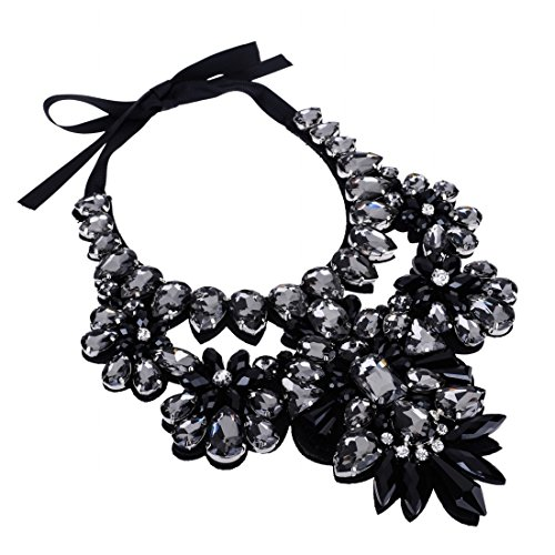 New Arrive Gray Glass Beads Chain Crystal Bib Collar Pendant Statement Necklace