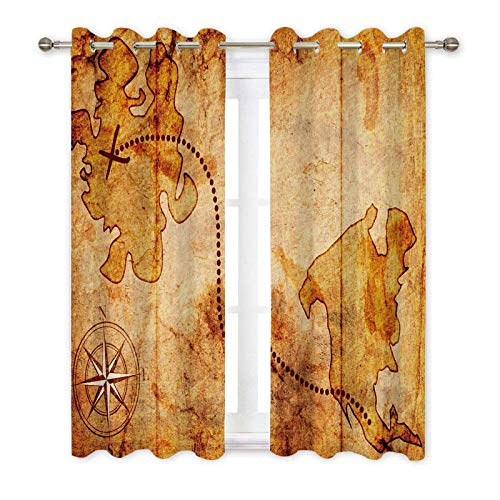 Ormis Blackout Curtains Light Blocking Draperies Ancient Treasure Map Compass Pattern Window Curtain for Living Room Bedroom, Kitchen Cafe,Window Drapes 2 Panel Set (Ancient Light Treasures)