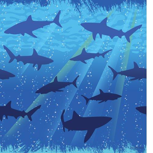 Aquatic Costume Themed (Creative Converting Shark Splash Plastic Tablecover, Rectangle, 54