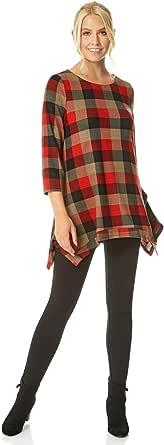 Roman Originals Top de mujer con estampado de cuadros y dobladillo para mujer, elegante, casual, cuello redondo, manga 3/4, dobladillo asimétrico, flotador y relajado y elástico, cómodo, túnica