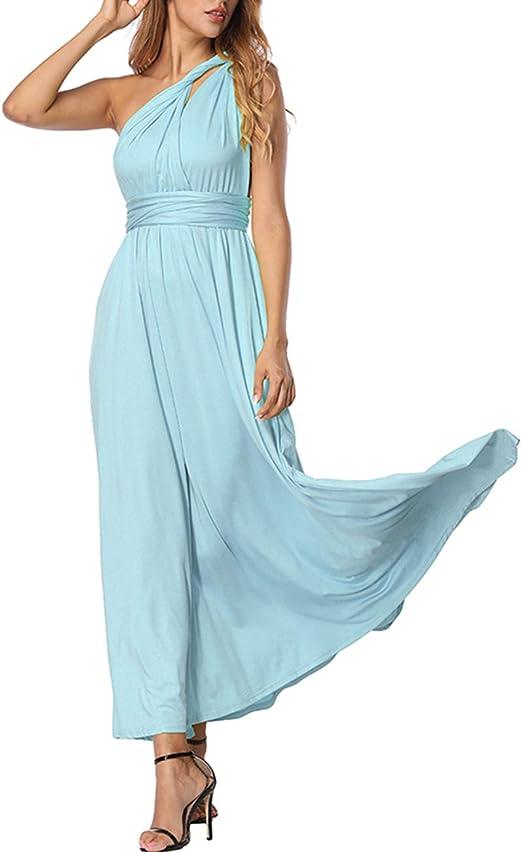 TALLA XL(ES 46-50). FeelinGirl Mujer Vestido Maxi Convertible Espalda Decubierta Cóctel Multiposicion Tirantes Multi-Manera Largo Falda para Fiesta Ceremonia Sexy y Elegante Azul Claro XL(ES 46-50)
