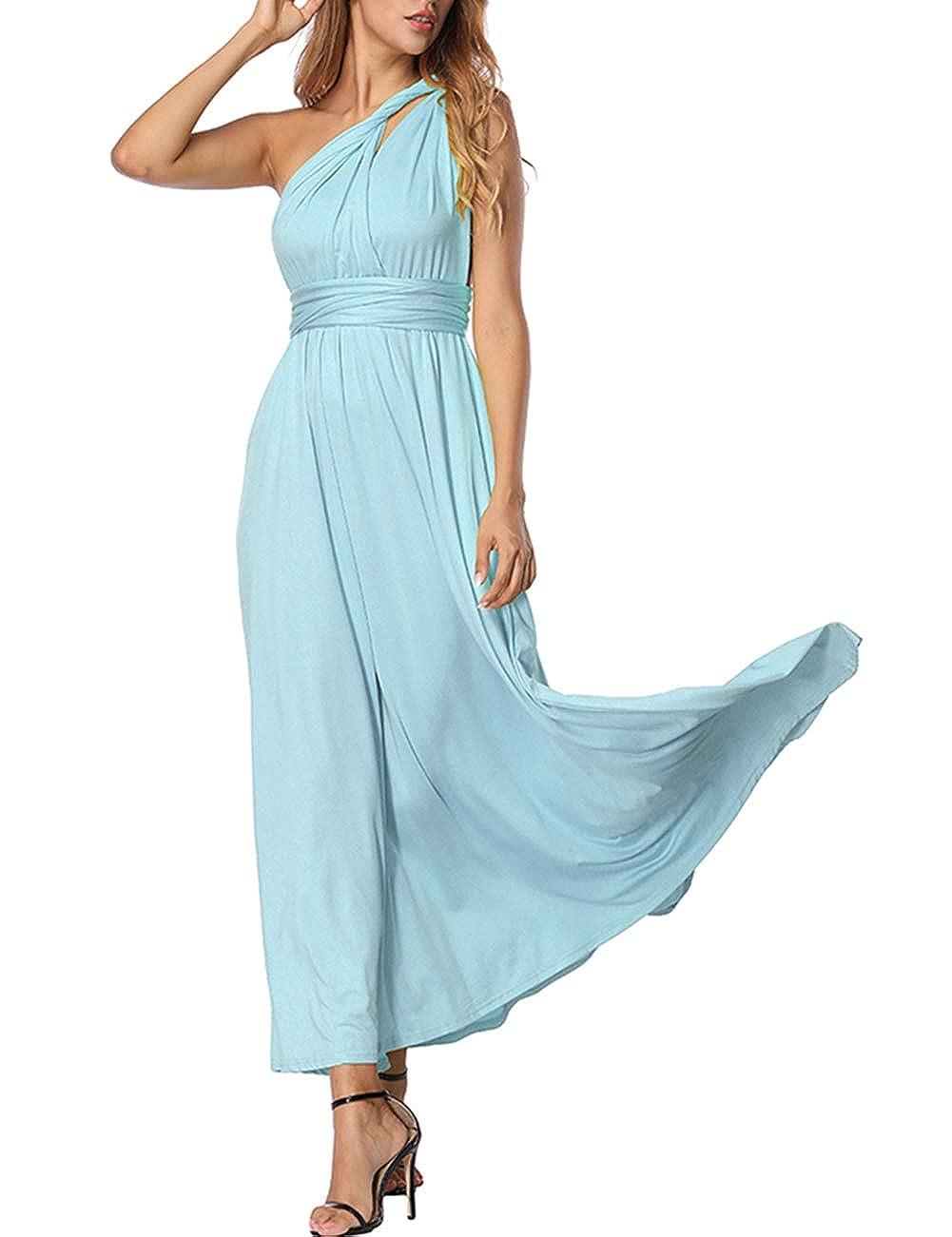 TALLA L(ES 44-46). FeelinGirl Mujer Vestido Maxi Convertible Espalda Decubierta Cóctel Multiposicion Tirantes Multi-Manera Largo Falda para Fiesta Ceremonia Sexy y Elegante Azul Claro L(ES 44-46)