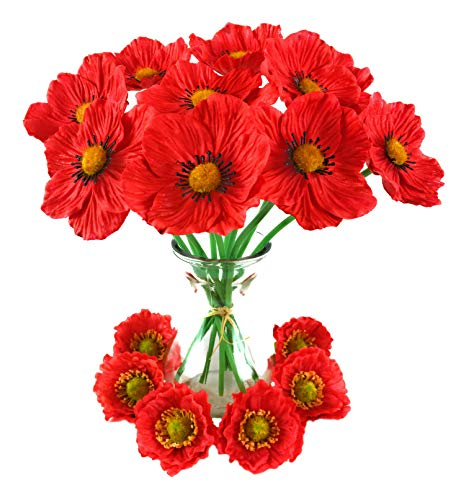 Poppy Flowers Red Artifical Poppies and Silk Flower Head Set for Home, Kitchen, DIY, Crafts, Bouquet, Table Settings, Parties, Special Events, Decorations, Weddings, and Hair Accessories 16 Piece Set