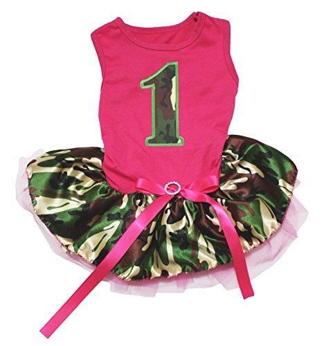 Petitebella Camo 1st Hot Pink Shirt Camouflage Tutu Puppy Dog Dress (XX-Large)