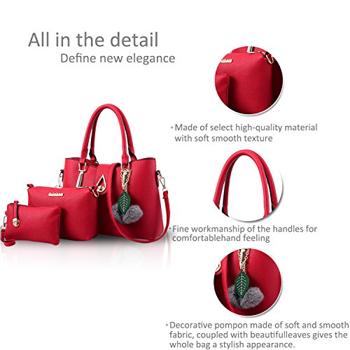 Messenger Totes Soft PCS 3 Shoulder Red NICOLE Women PU Bag Wine amp;DORIS Fashion Crossbody Handbag Bag Leather q1w4S