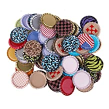 100pcs Flat Bottle Caps Linerless Flattened No Liners Mixed Color 1inch
