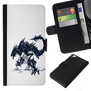 // PHONE CASE GIFT // Moda Estuche Funda de Cuero Billetera Tarjeta de crédito dinero bolsa Cubierta de proteccion Caso HTC Desire 820 / Dragon Monster /