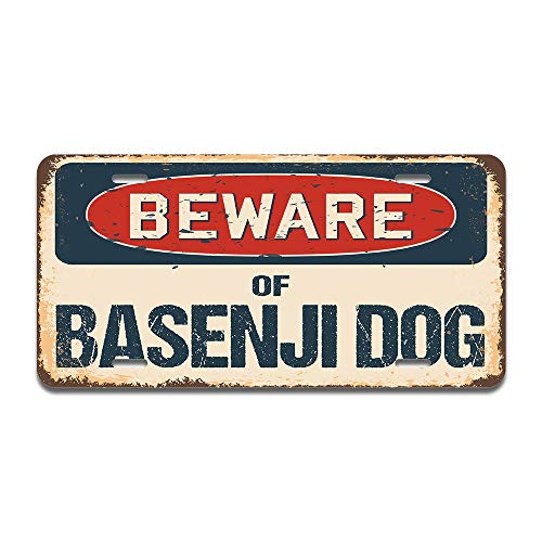 """SignMission Beware of Basenji Dog Aluminum License Plate 12"""" X 6"""" Fits Any Car, Truck, SUV, RV, or Trailer   Made in The USA"""