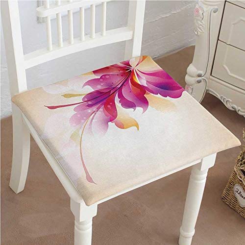 Mikihome Classic Decorative Chair pad Seat Artistic Floral Design with Bright Points and Leaves Artwork Purple Pink and Golden Cushion with Memory Filling 16