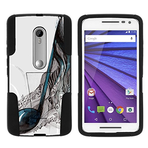 TurtleArmor | Motorola X Play Case | Motorola Droid MAXX 2 Case [Gel Max Cover] High Impact Proof Kickstand Case Silicone Hard Cover Combo Music Design Collection - Artistic Music ()