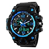 Ireloj Men's Large Dual Dial Analog Digital Quartz lectronic Sport Watch Water Resistant,Blue