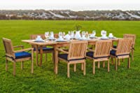 """9 Pc Luxurious Grade-A Teak Dining Set -94"""" Rectangle Table And 8 Stacking Leveb Arm Chairs from WholesaleTeak"""