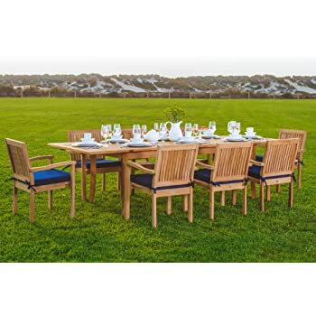 New 9 Pc Luxurious Grade A Teak Dining Set 94 Rectangle Table And