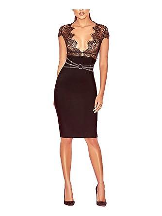 f61f45732ea5 Tina Beauty Sexy Black Lace Mesh Deep V Neck Sleeveless Halter Bandage Mini  Dress Small