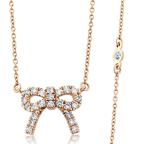 Diamond Bow Necklace - Gem Stone King 10K Solid Rose Gold Diamonds by the Yard 0.33cttw Pave White Diamonds Ribbon Bow Pendant Necklace 18inches Chain 2inches Extenders