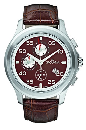 Grovana Men's 'Sport' Swiss Quartz Stainless Steel and Leather Casual Watch, Color:Brown (Model: 1633-9536)