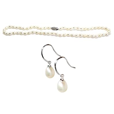 fe60fd883e1a8f FRESHWATER PEARL DROP NECKLACE with DROP EARRINGS - by Luxelu London  (Natural White) (Natural White): Luxelu London: Amazon.co.uk: Jewellery