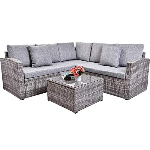 FLIEKS Leisure Zone 4 Piece PE Rattan Sectional Sofa Grey Wicker Patio Furniture Sets with Coffee Table and 2 Pillows, for Outdoor, Indoor, Backyard, Porch, Garden, Pool, Balcony – Grey Cushion