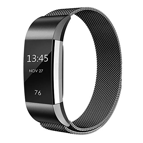 - Simpeak Compatible for Fit bit Charge 2 Bans, Stainless Steel Replacement Metal Band Strap with Closure Clasp for Fit bit Charge 2 Fitness, Women Men