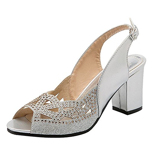 YE Womens High Block Heels Peep Toe Court Shoes Glitter and Slingback Slip on Sandals Party Summer Pumps Silver