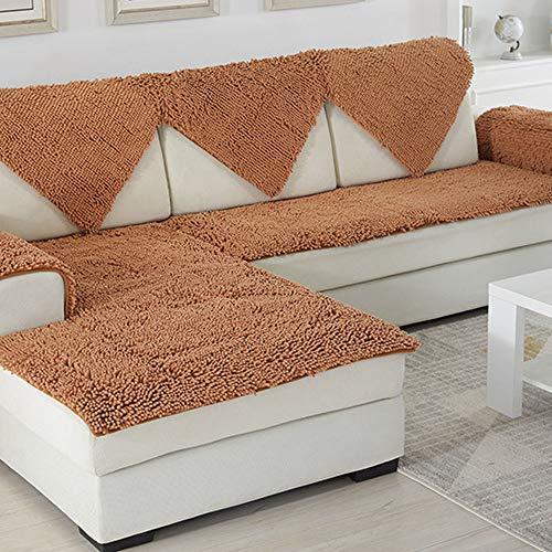 (SVIO-SOFACOVER Plush Chenille Sofa Slipcover Brown Couch Cover Anti-Slip Furniture Protector Winter Warm Sofa Cover,35
