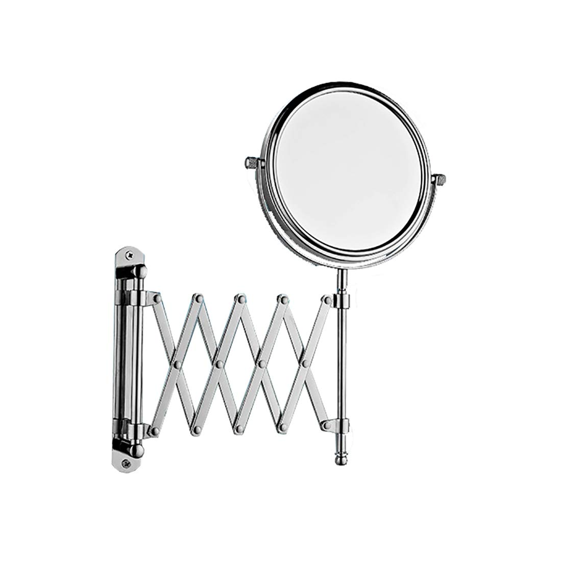 ZfgG Large Wall Mounted Extension Vanity Mirror 1x 3X Magnification - Maximum Extension Bathroom Bedroom - Stainless Steel Chrome Finish - Swivel Head Design (Size : 6 inches)