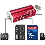 USB2.0 All in1 Memory Card Reader for Micro SD SDHC MS TF T-Flash M2 SD MMC 662R (Red)