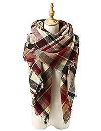 Women's Blanket Winter Scarf Warm Cozy Tartan Wrap Oversized Shawl Cape For Women