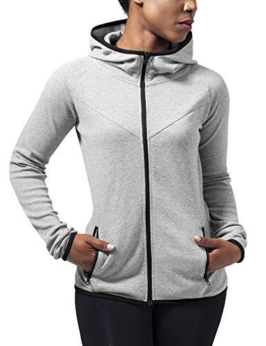 Urban Classics Ladies Athletic Interlock Zip Hoody, Sudadera para Mujer Grau (Grey 111)