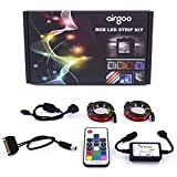 Airgoo Full Kit Computer RGB 5050 SMD 2pcs 30leds 50cm LED Strip Light with Multi Function RF Remote Controller Built-in Protection Circuit for Desktop PC Computer Mid Tower Case(2017 New Version)