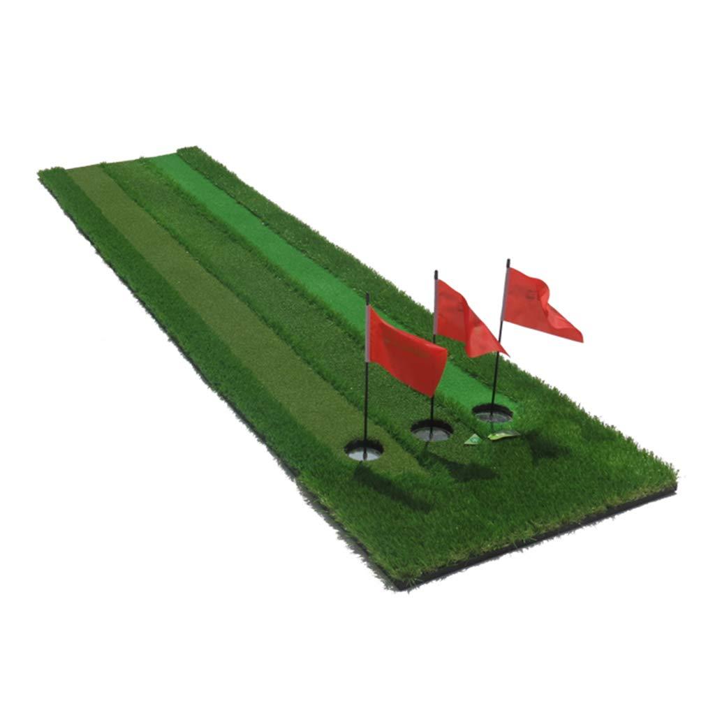 プロフェッショナル ゴルフ パッティングマット - 屋外/屋内 ゴルフ グリーン パッティングスキルを向上させるためのパットマット - 3速の草と3穴 - 70×300cm