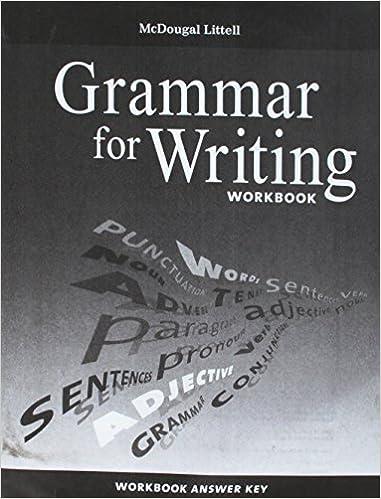 McDougal Littell Literature Grammar For Writing