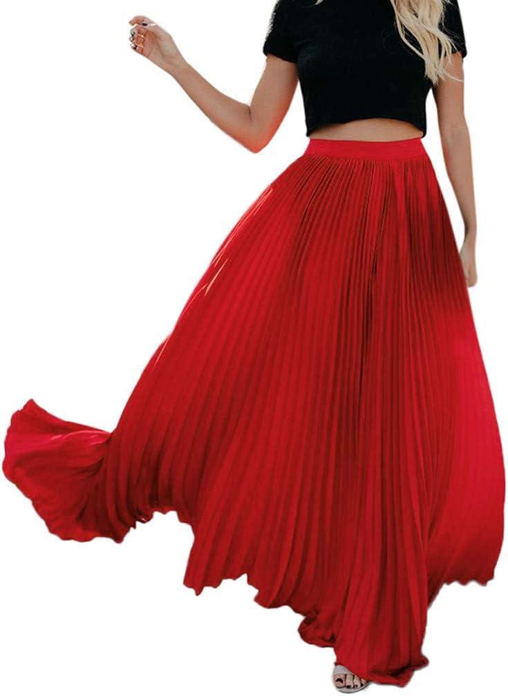 Fitfuvan Women Skirt,High Waist Fold Soild Vintage Loose Beach Wrap Maxi Long Dress