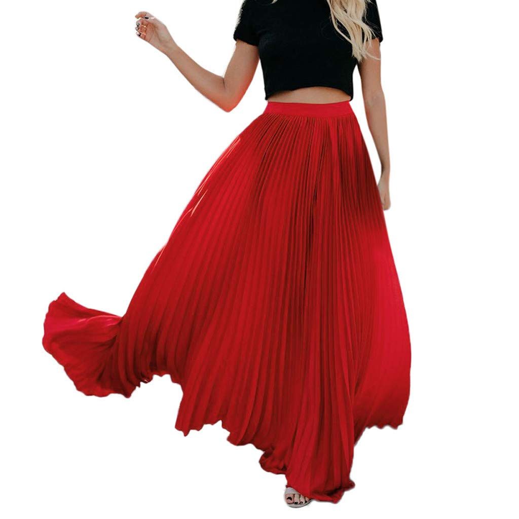 Womens Long Pleated Skirt Ladies Vintage High Waist Fold Solid Color Loose Beach Wrap Maxi Skirt New 2019 Red