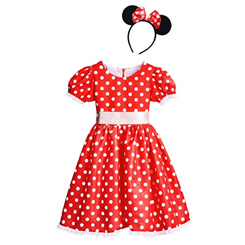 Baby Girls Polka Dots Princess Dress Cake Smash Cosplay Fancy Costume Birthday Party Outfits Halloween Bowknot Leotard Ballet Dance Tutu Dress + 3D Mouse Ears Headband Clothes Set Bow Red 8-9