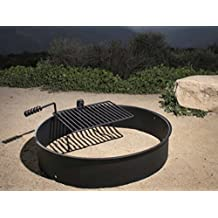 """36"""" Steel Fire Ring with Cooking Grate Campfire Pit Park Grill BBQ Camping Trail"""