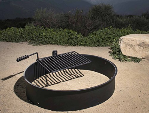 """36"""" Steel Fire Ring with Cooking Grate Campfire Pit Park ..."""