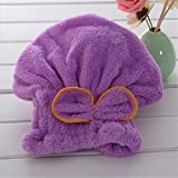 New Magic Quick Hair Drying Bath Spa Bowknot Wrap Towel Turban Dry Hat Cap For Bath Bathroom Accessories Purple