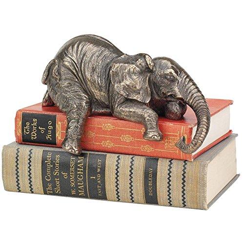 Design Toscano Ernest the Lounging Elephant Book Shelf Sitting Statue, 8 Inch, Polyresin, Bronze Finish